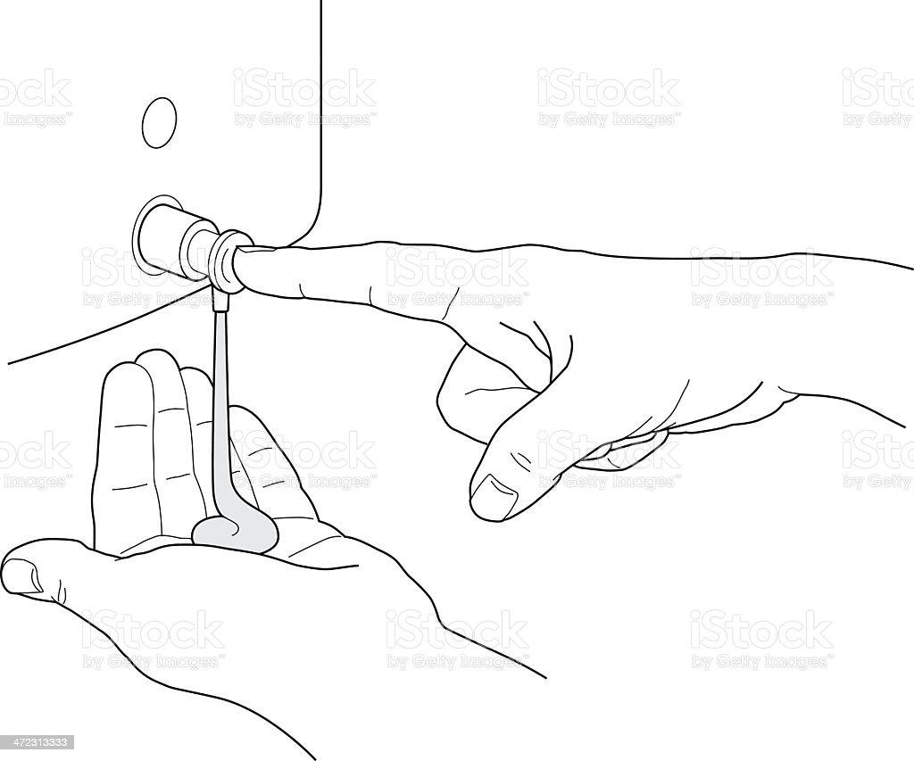 Dispensing liquid soap from side dispenser vector art illustration