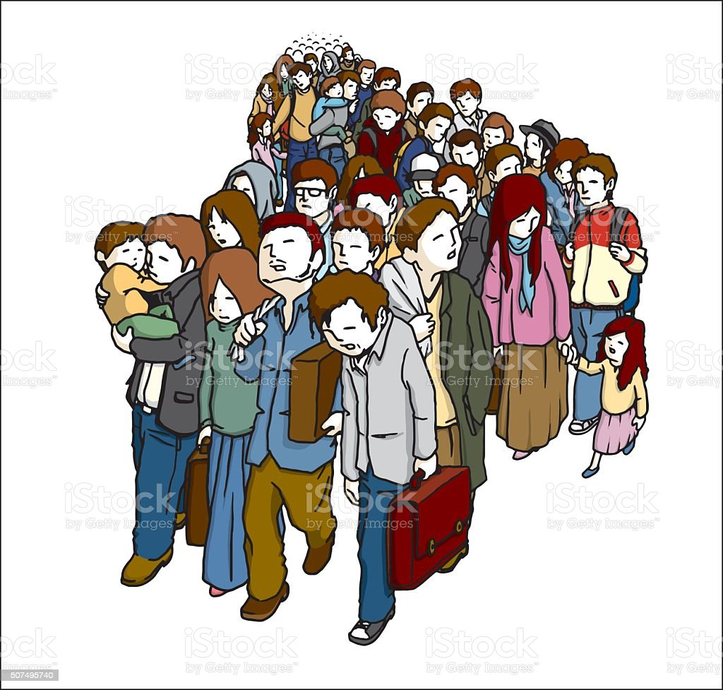 Displaced Persons vector art illustration