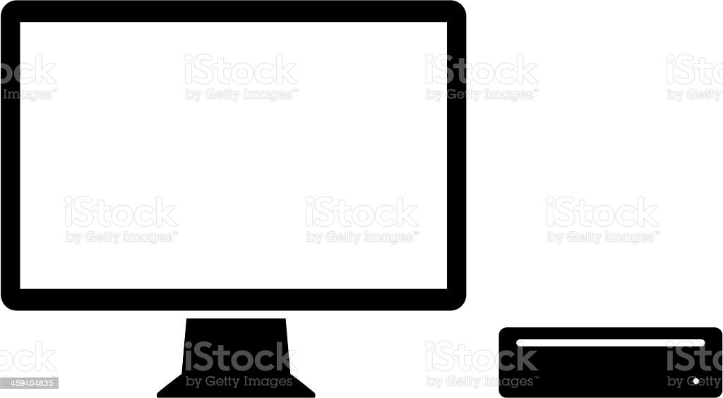 Display and small PC icon vector art illustration