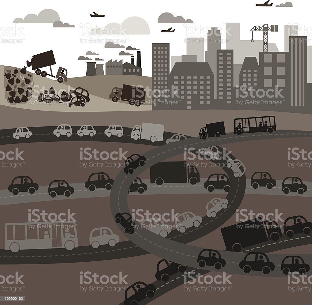 Display of a polluted city with traffic royalty-free stock vector art