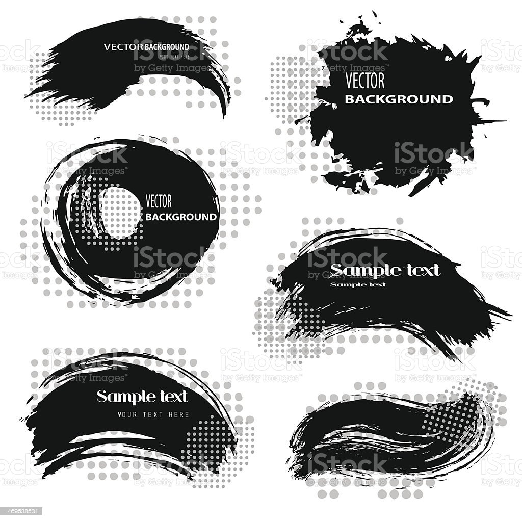 A display of black blobs used to accent the sample text vector art illustration