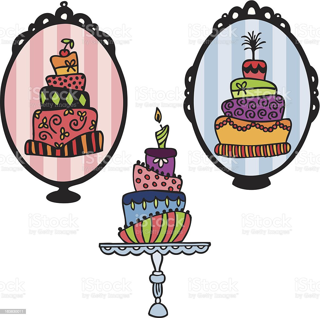 Displayed Whimsical Layer Cakes vector art illustration
