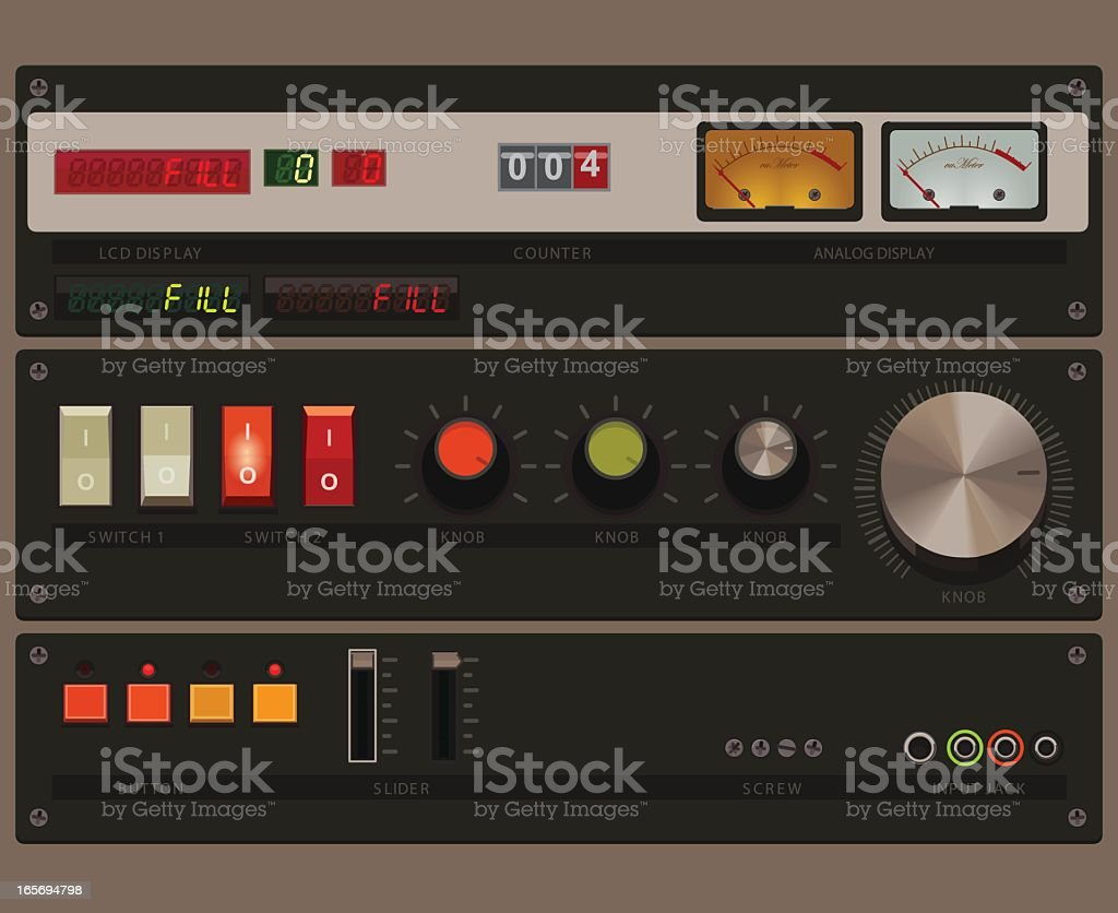 displays and controls royalty-free stock vector art