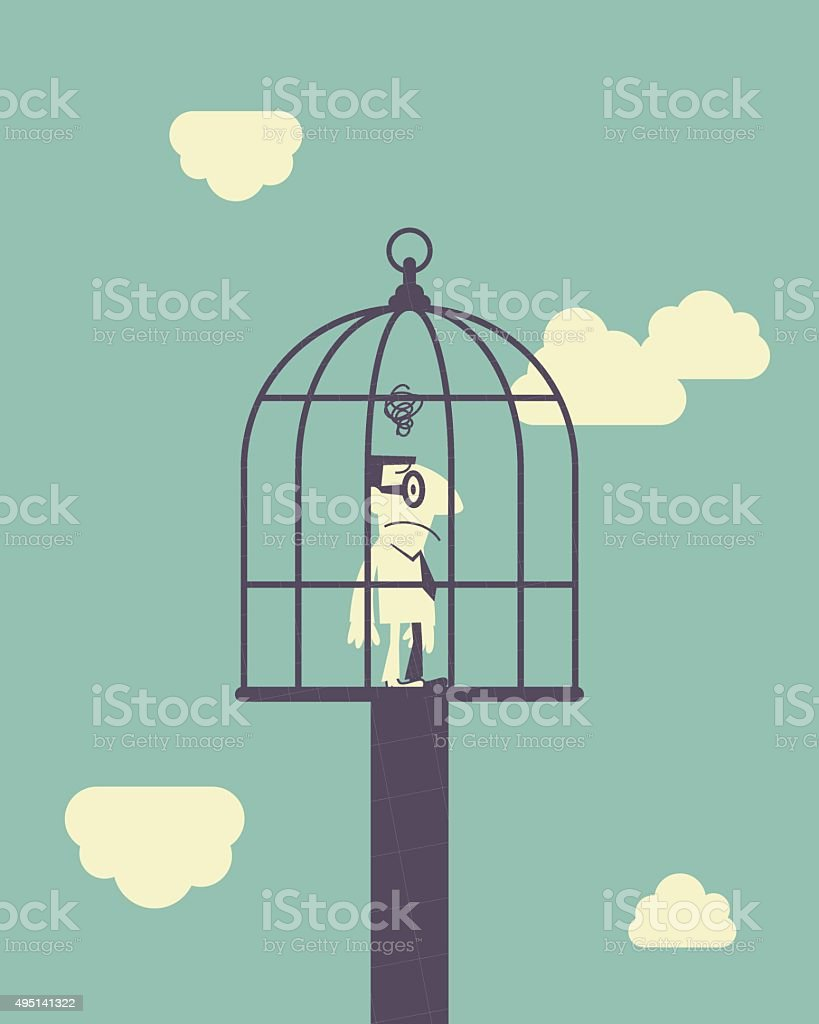 displeased man standing in large birdcage vector art illustration