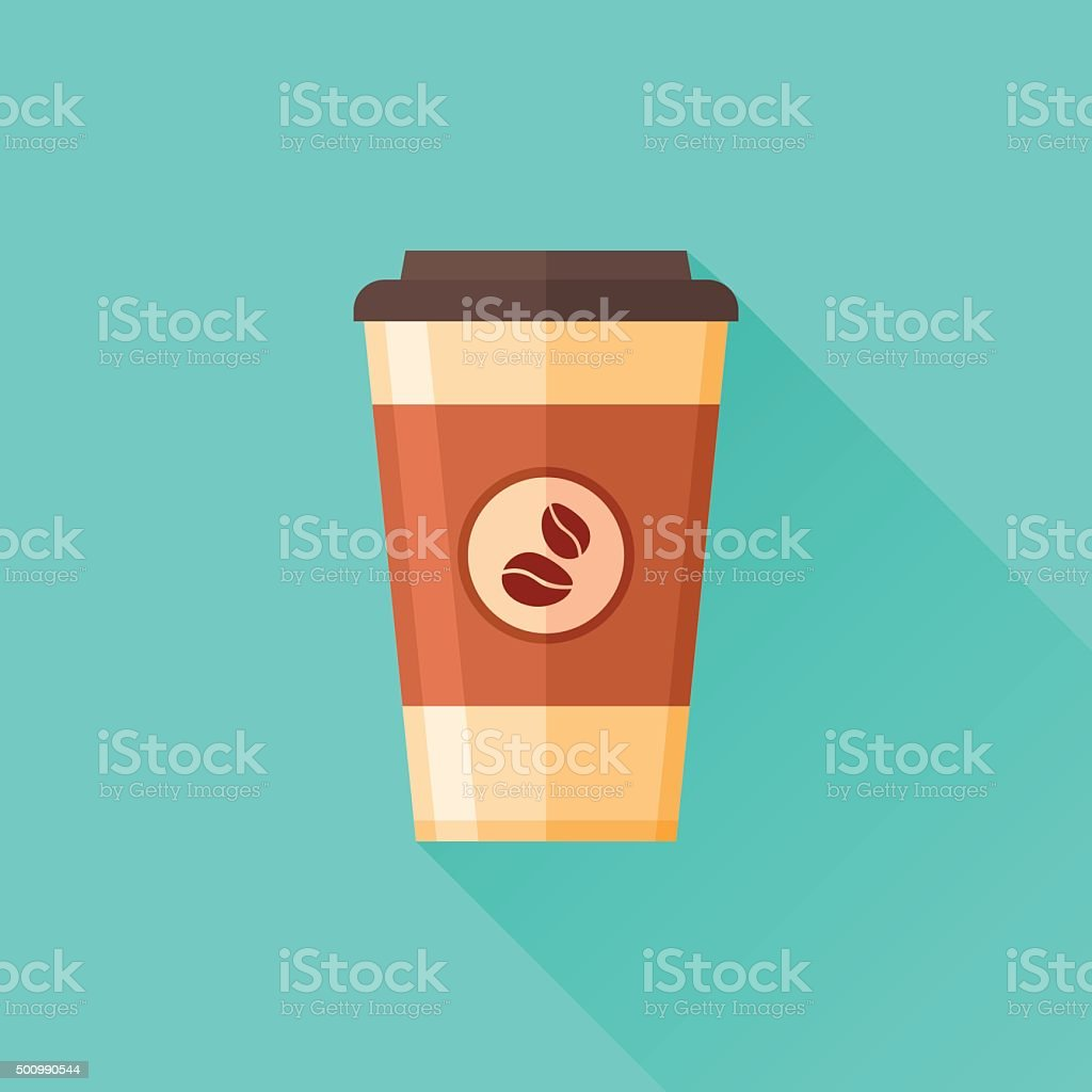 Disposable coffee cup flat icon with long shadow. Coffee takeaway. vector art illustration