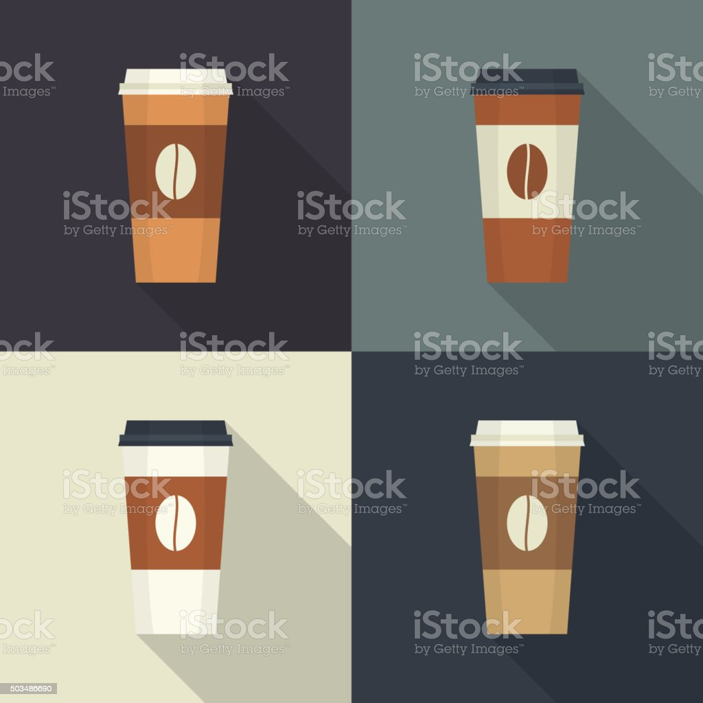 Disposable coffee cup vector art illustration
