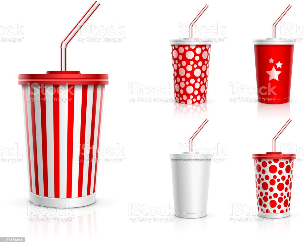 Disposable Cup Set vector art illustration