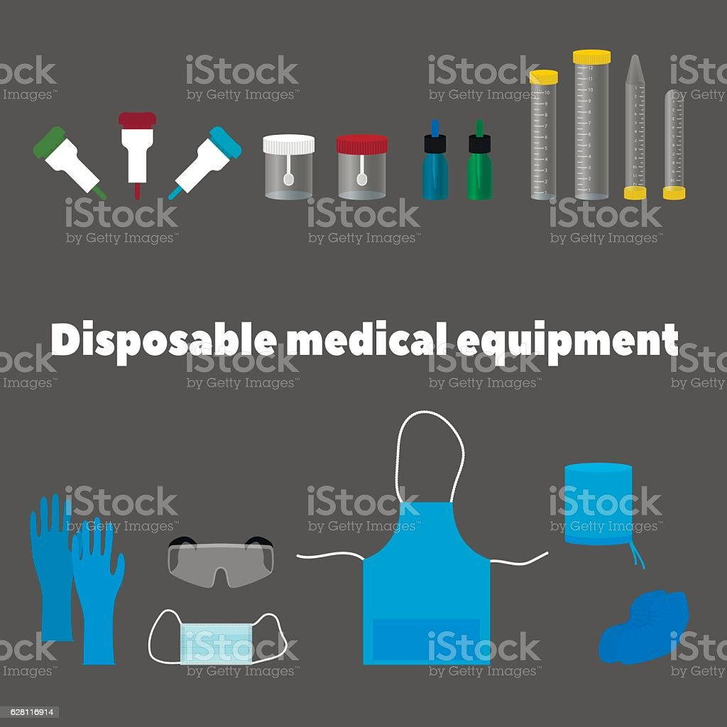 disposable medical equipment, tools and work clothes vector art illustration