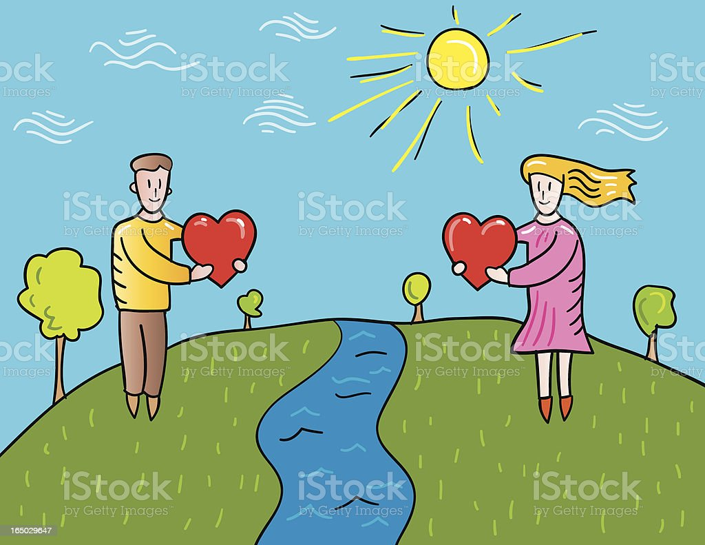 distant lovers vector art illustration