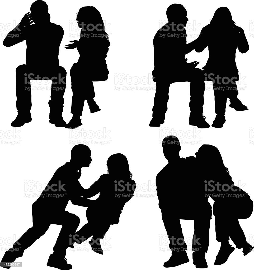 Distracted couple royalty-free stock vector art