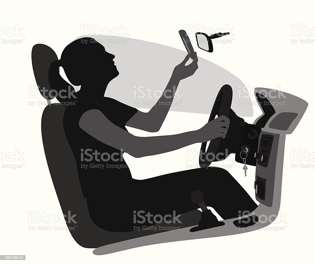 Distracted Driver Vector Silhouette royalty-free stock vector art