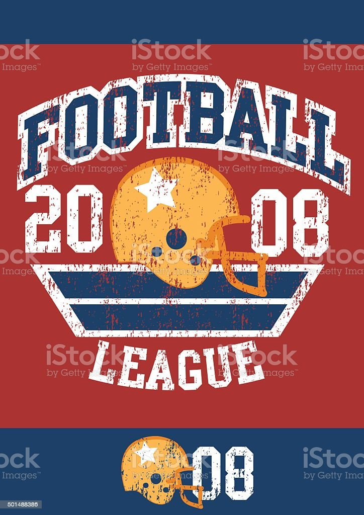 Distressed football league poster with helmet vector art illustration