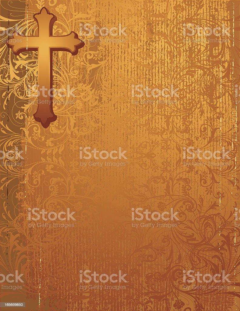 Distressed Golden Cross royalty-free stock vector art