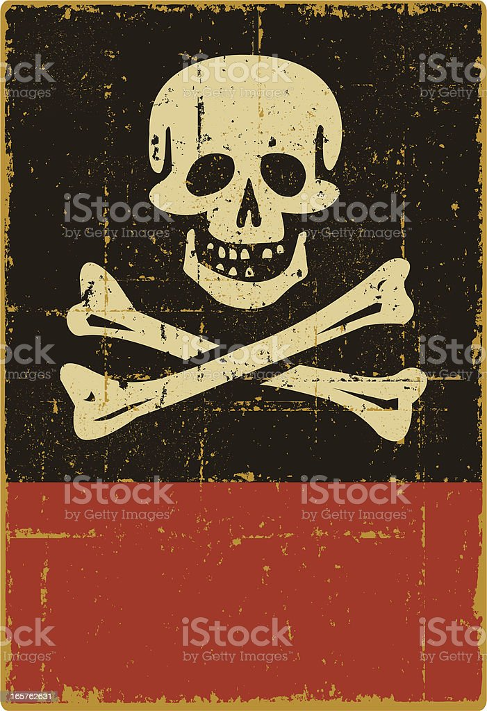 Distressed Jolly Roger Sign - Copy Space vector art illustration