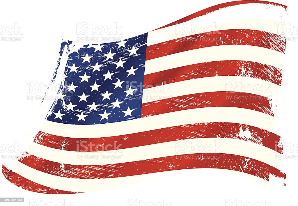 Distressed looking American flag painting vector art illustration