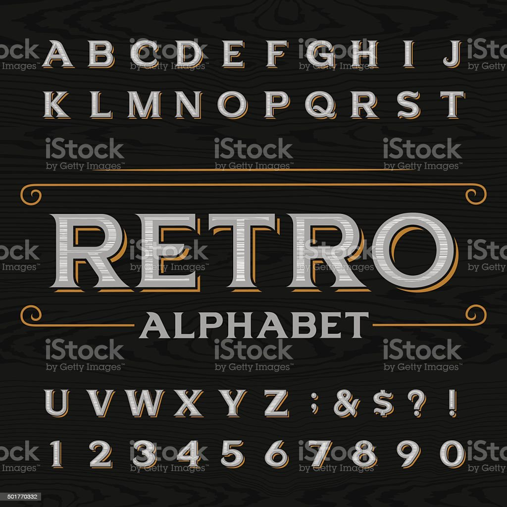 Distressed retro vector typeface. vector art illustration
