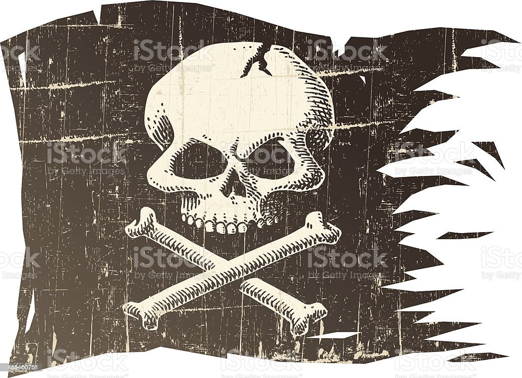 Distressed Skull Flag royalty-free stock vector art