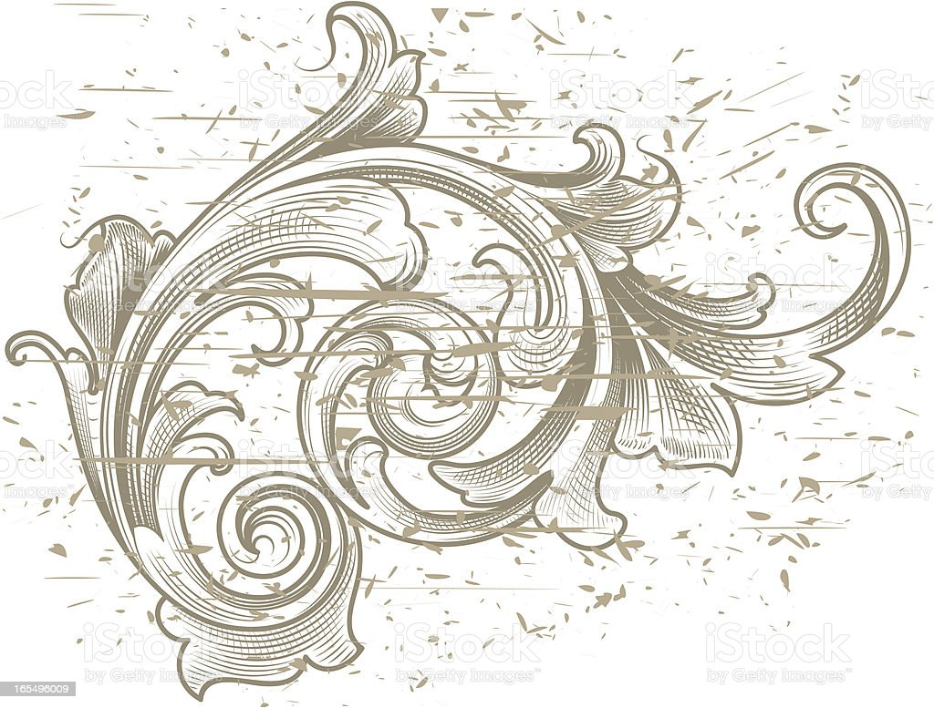 Distressed Victorian Scroll royalty-free stock vector art
