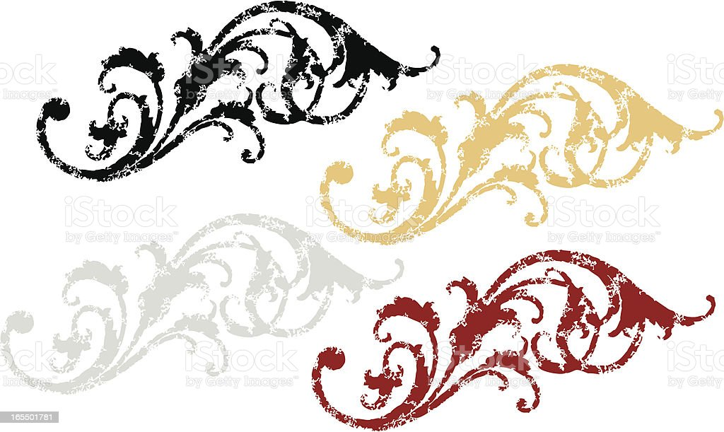 Distressed Victorian Scrolls royalty-free stock vector art