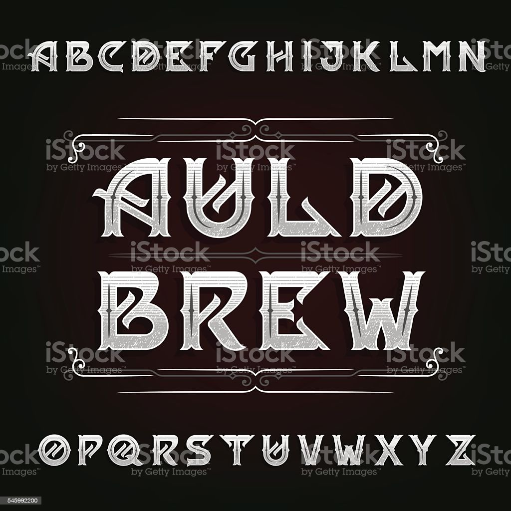 Distressed vintage alphabet vector font vector art illustration