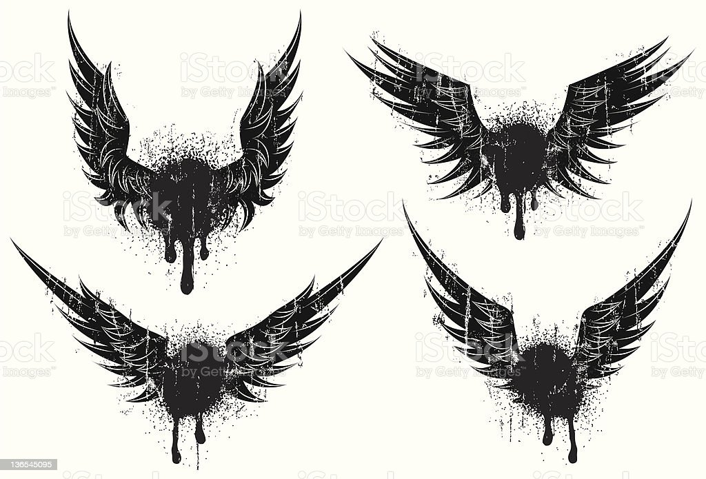 Distressed wings royalty-free stock vector art