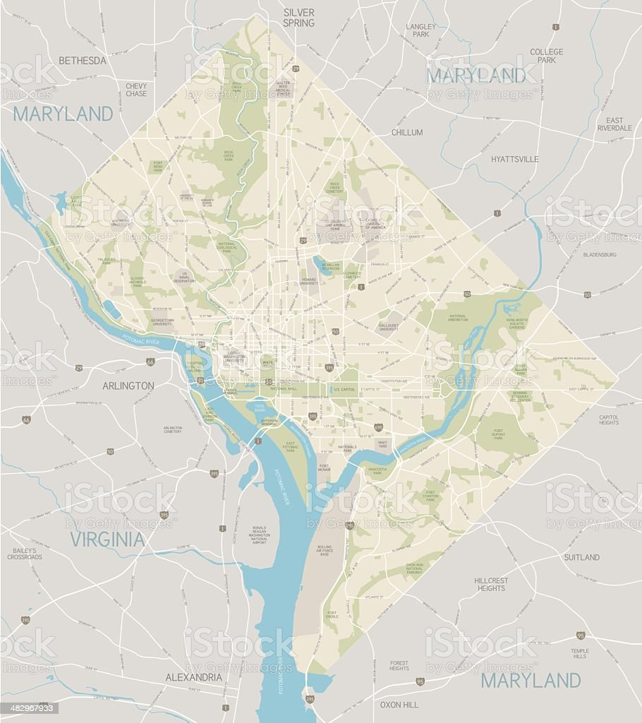 District of Columbia Area Map vector art illustration