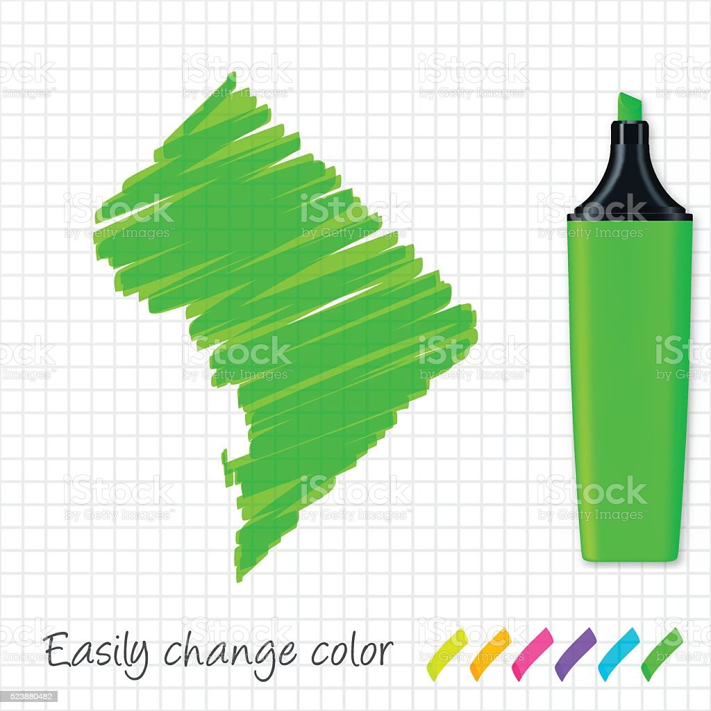 District of Columbia map hand drawn, grid paper, green highlighter vector art illustration