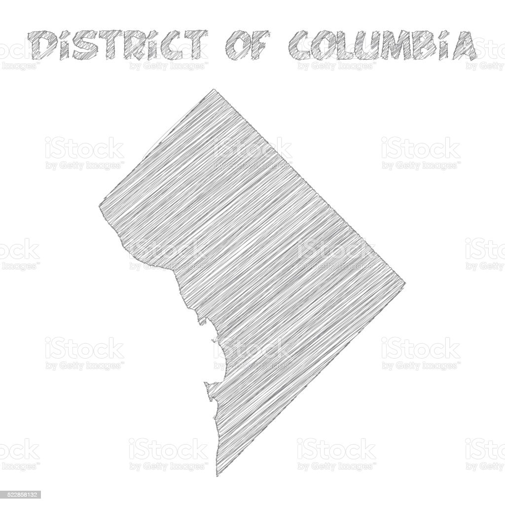 District of Columbia map hand drawn on white background vector art illustration