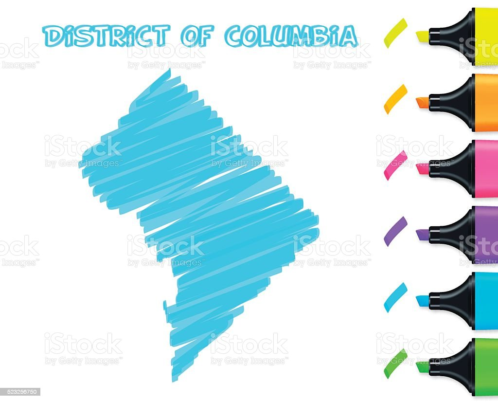 District of Columbia map hand drawn, white background, blue highlighter vector art illustration