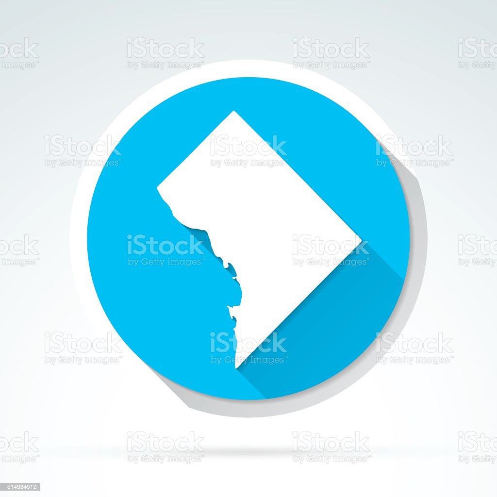 District of Columbia map icon, Flat Design, Long Shadow vector art illustration