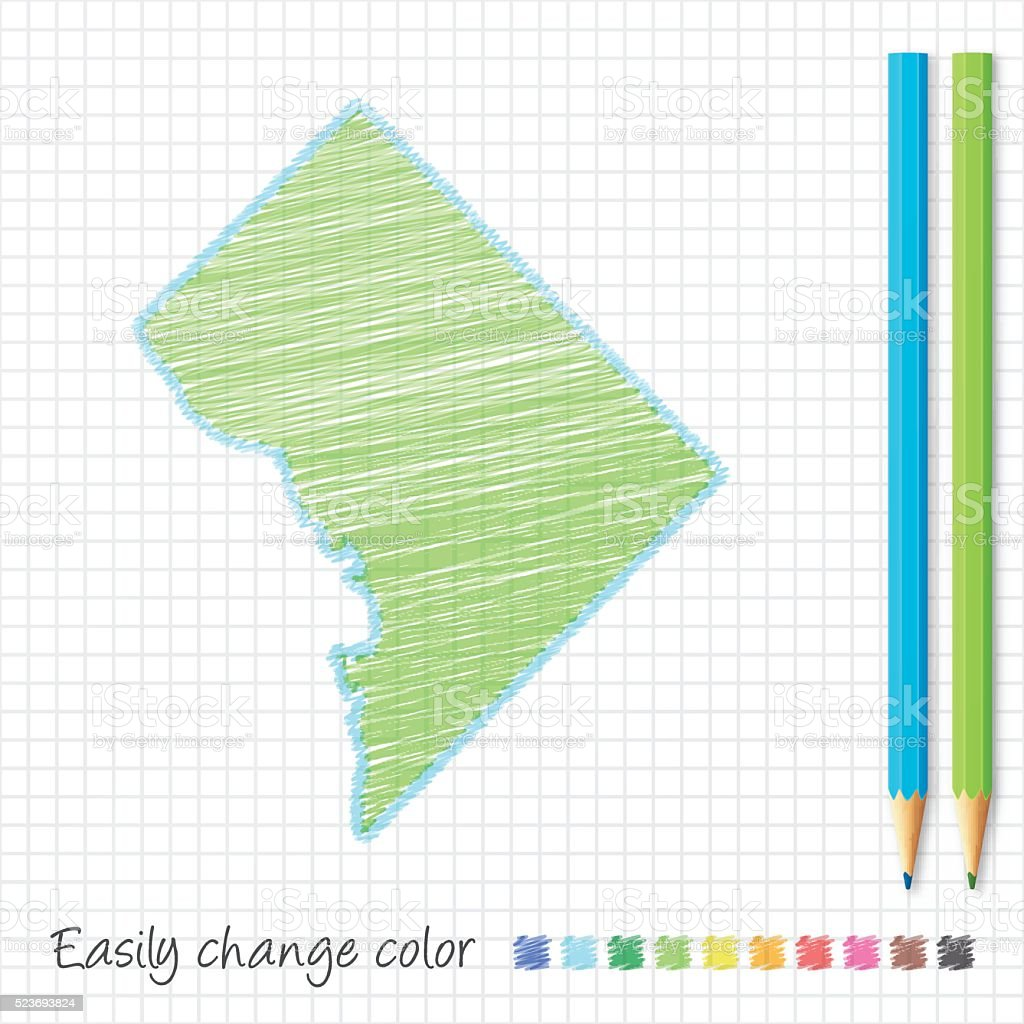District of Columbia map sketch with color pencils, grid paper vector art illustration