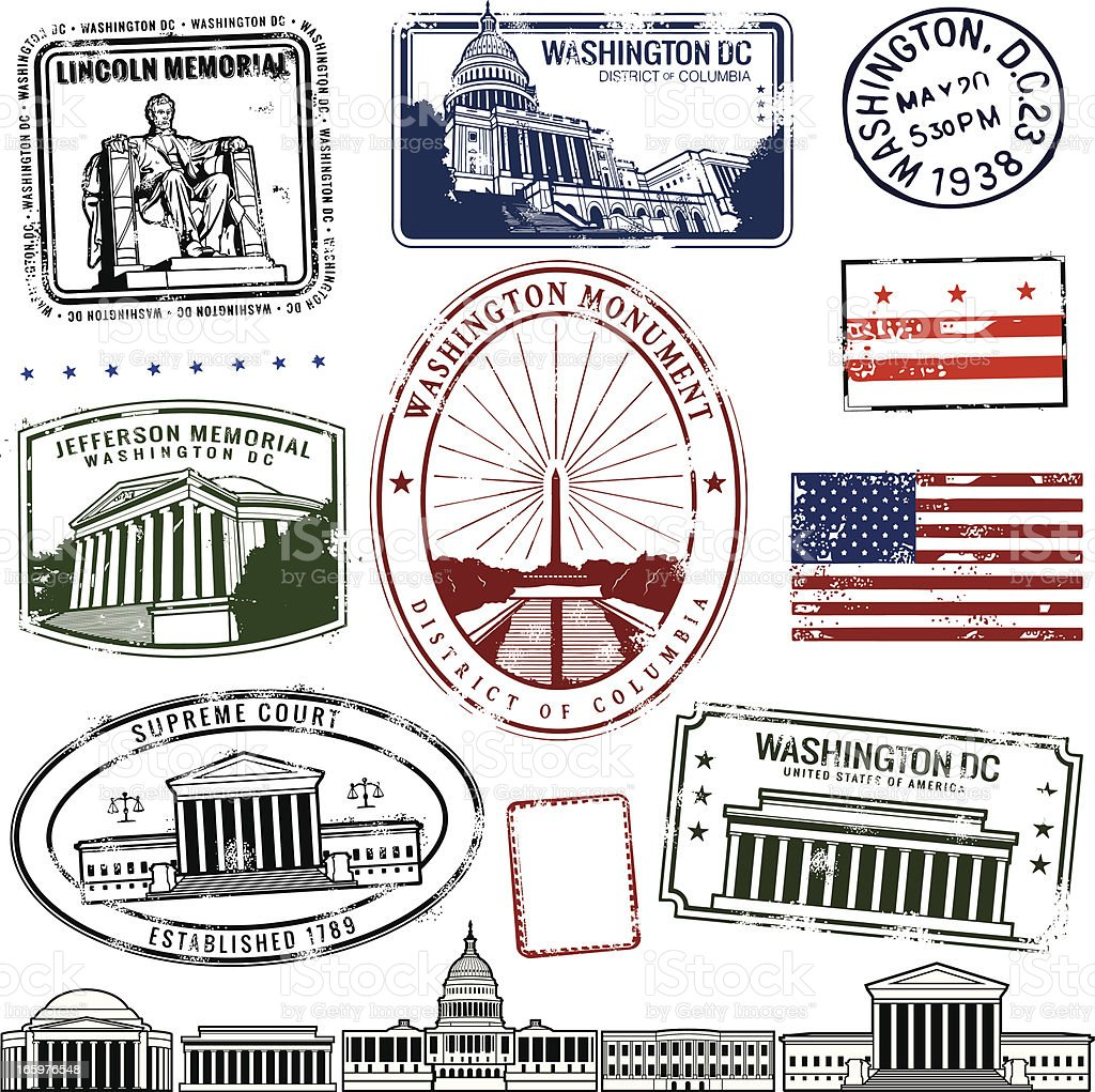District of Columbia stamps on white background vector art illustration