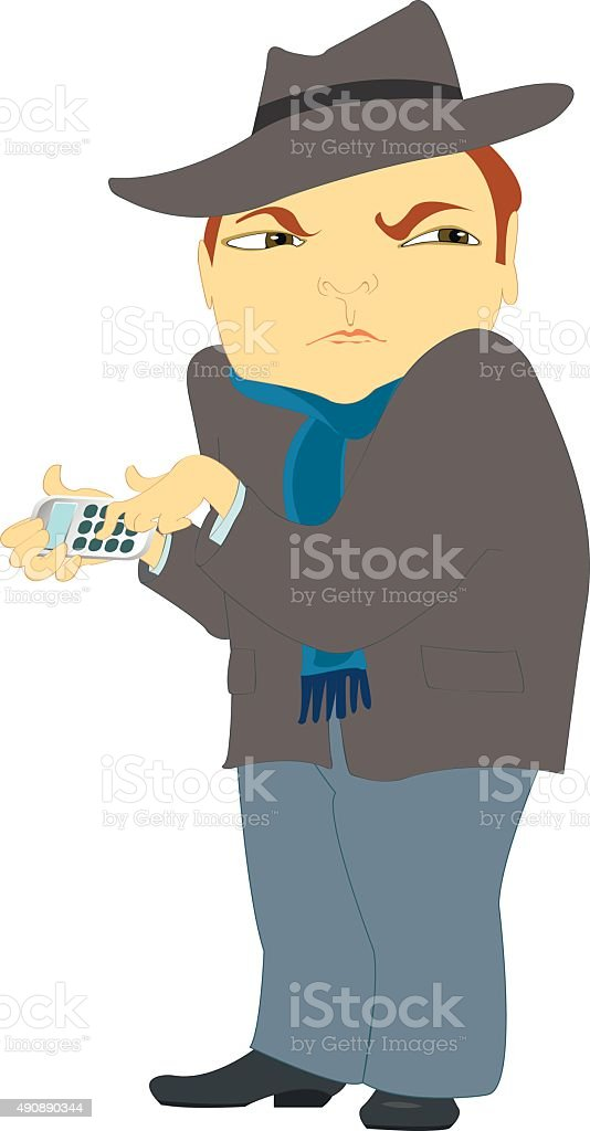 Distrustful man in a coat verifying numbers on a calculator vector art illustration