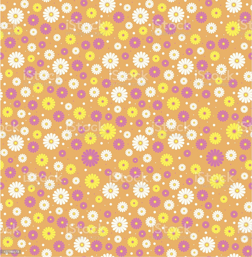 Ditsy Daisy Flower Pattern in a Repeat vector art illustration