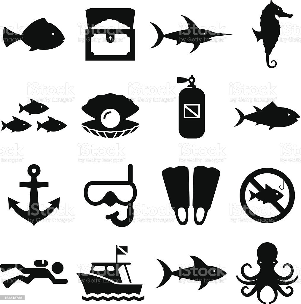 Dive Icons - Black Series vector art illustration