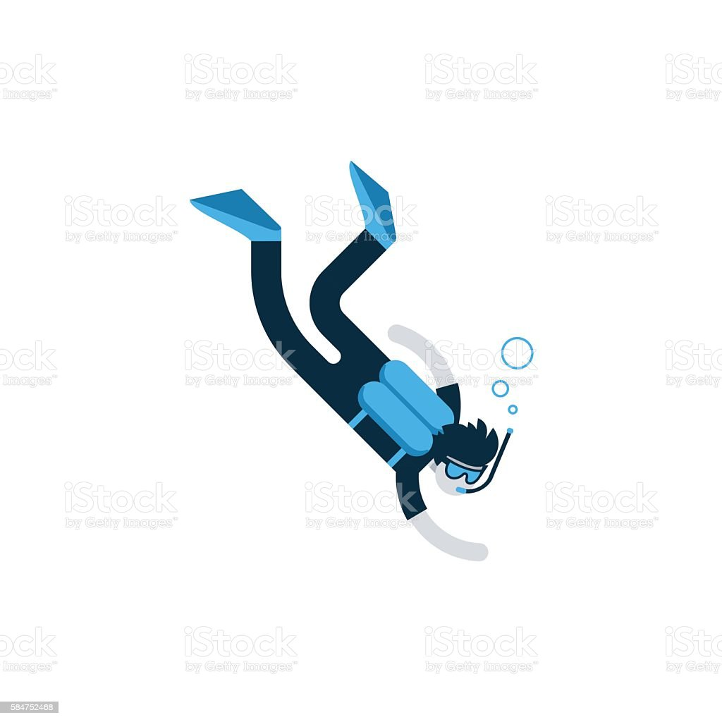 Diver deep under water, diving training course, open sea vector art illustration