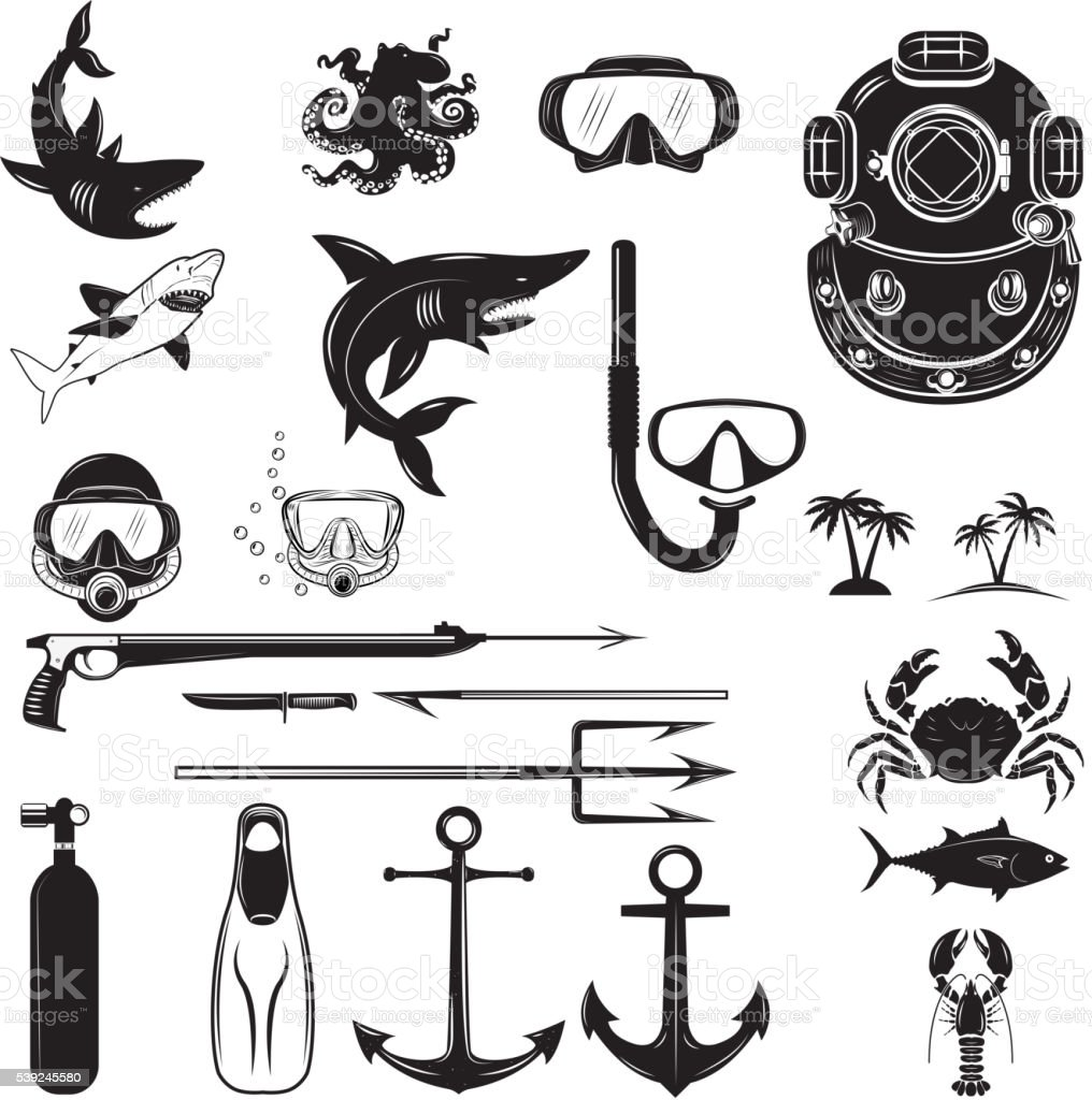Diver design elements. Diver weapon, diver helmet, equipment vector art illustration