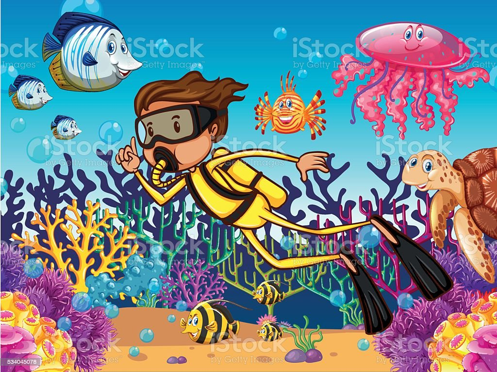 Diver diving underwater with many sea animals illustration