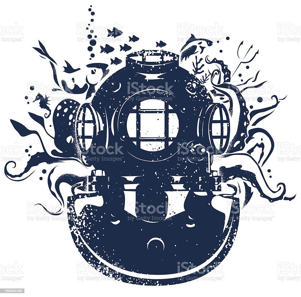 Diver helmet vector art illustration