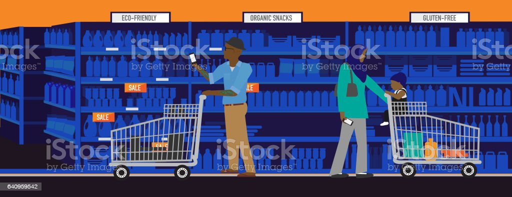 Diverse and modern shopping concept with african american man and muslim mother vector art illustration