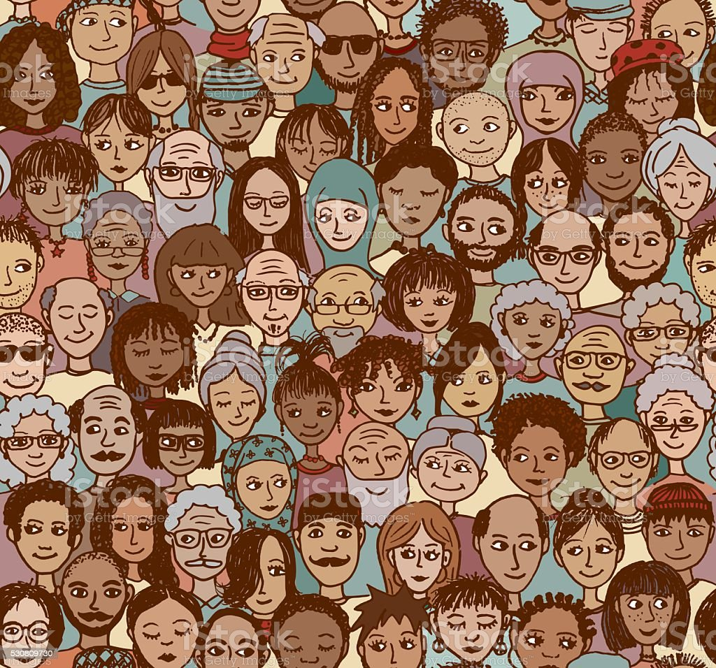 Diverse crowd of people - seamless pattern vector art illustration
