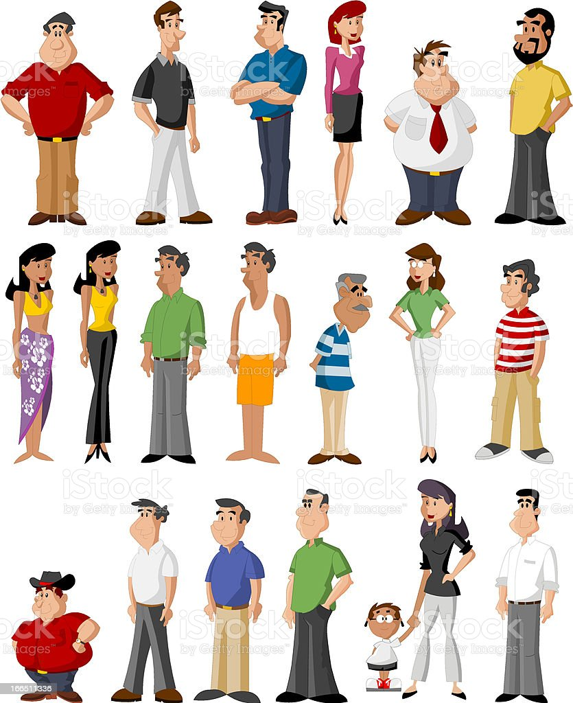 Diverse depiction of cartoon characters royalty-free stock vector art