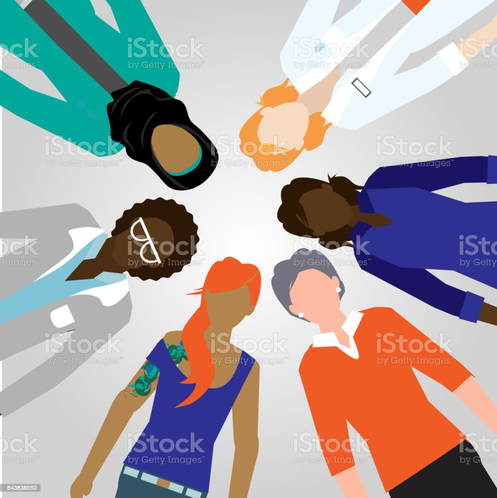 Diverse group of people in a circle vector art illustration