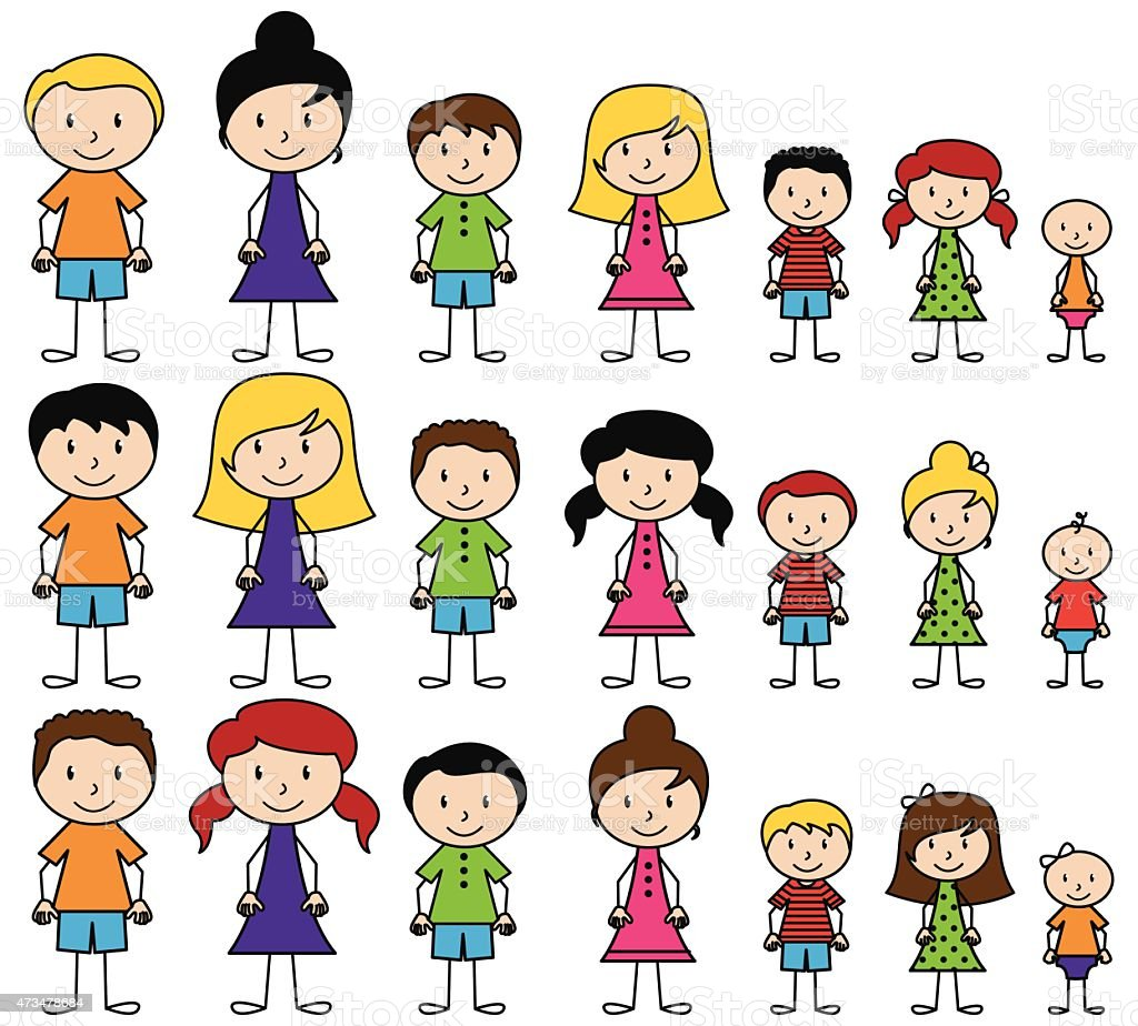 A diverse group of vector stick people vector art illustration