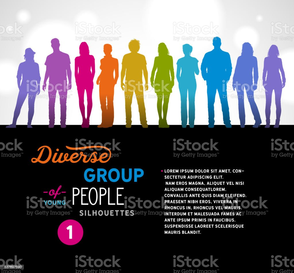 Diverse Group of Young People Silhouettes vector art illustration