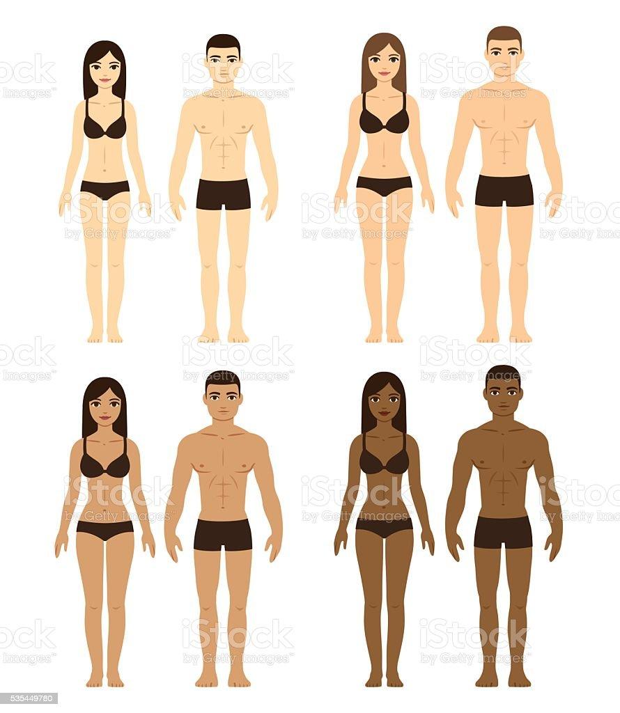 Diverse men and women vector art illustration