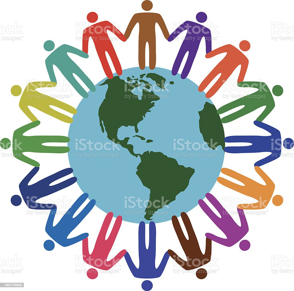 diverse people holding hands around the world vector art illustration