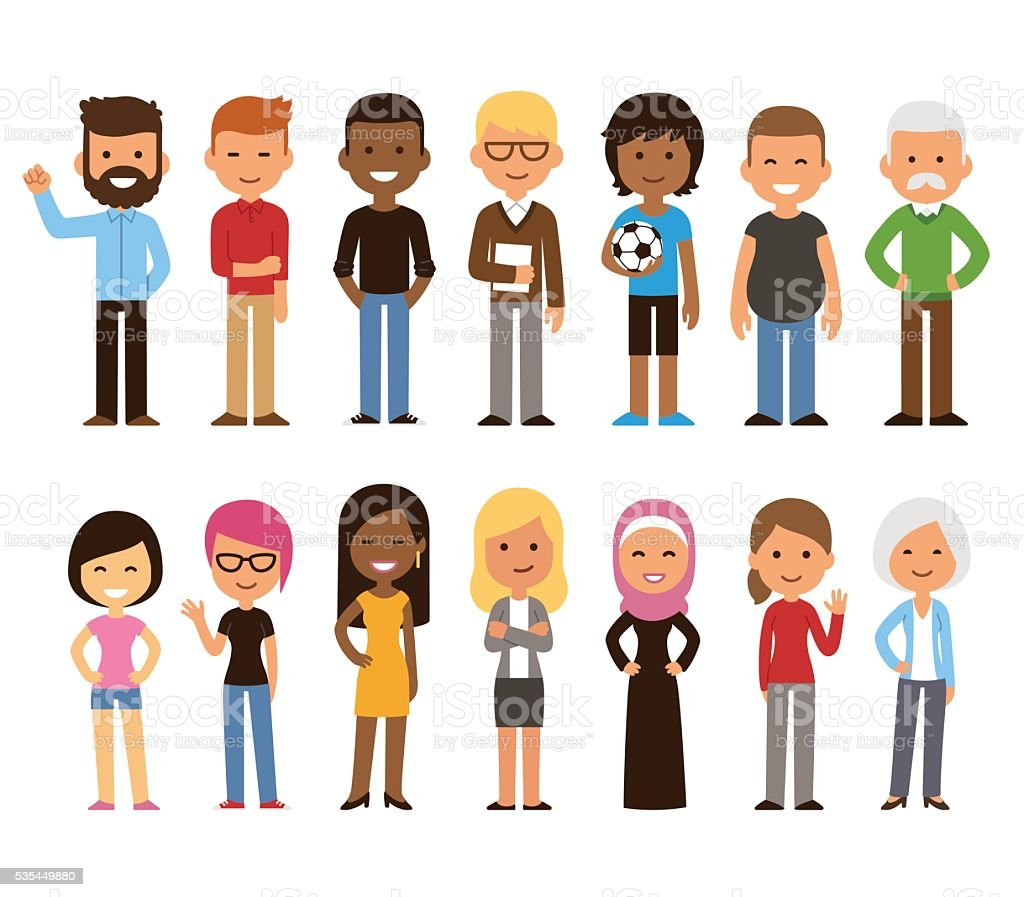 Diverse people set vector art illustration