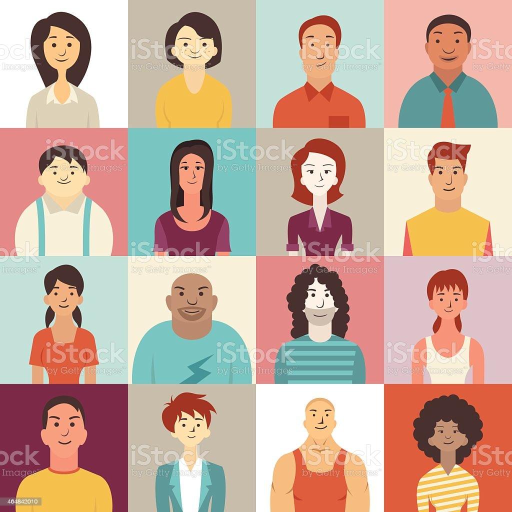 Diverse people smiling vector art illustration