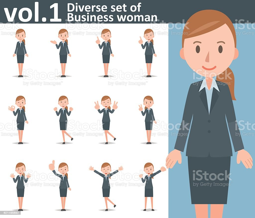 Diverse set of business woman on white background vol.1 vector art illustration